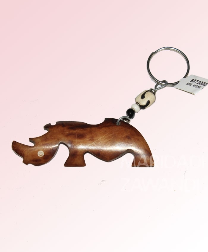 Bone Rhino Key Chain