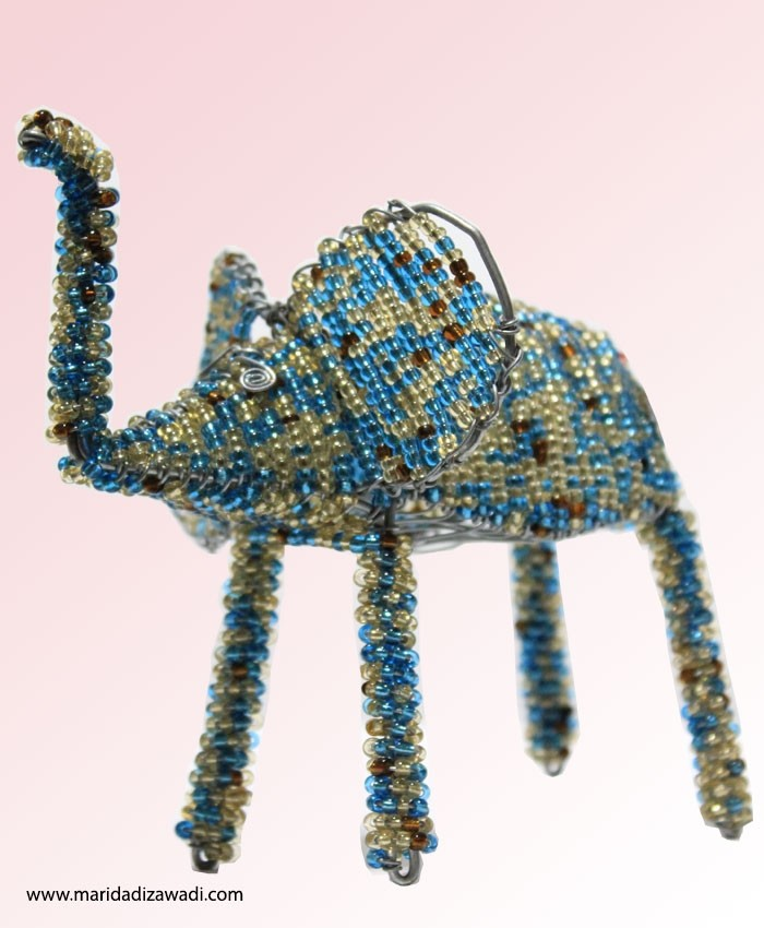 Wire Beaded Elephant Small
