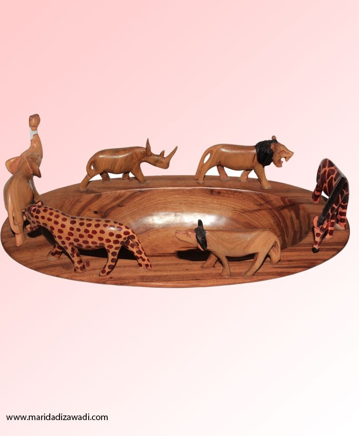 Mahogany Oval Bowl with Safari Animals