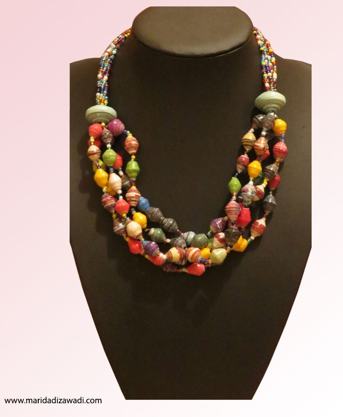 Paper Necklace Twisted with Multi Colour